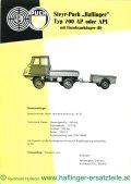 technical data sheet of the Haflinger one-axle trailer